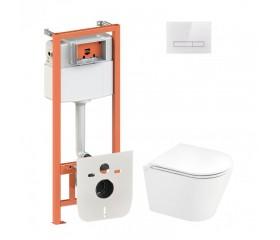 Комплект: унитаз подвесной с сиденьем + инсталляция 4в1 с прямоуг. белой клавишей глянц.