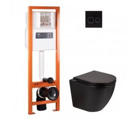 Комплект: унитаз подвесной с сиденьем мат.+ инсталляция 4в1 с кругл. клавишей мат.