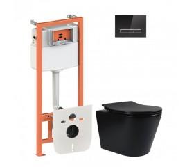 Комплект: унитаз подвесной с сиденьем мат.+ инсталляция 4в1 с прямоуг. клавишей глянц.