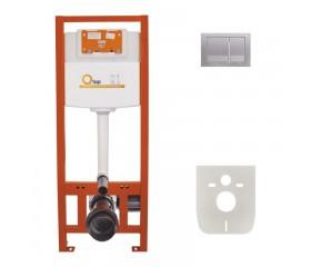Комплект: Qtap Nest ST Инсталляция для унитаза 4в1( Клавиша квадратная Satin 150x220x13mm)