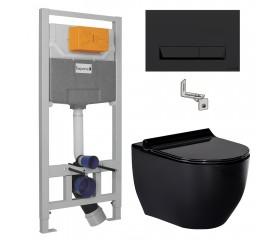 Комплект: BLACK AMADEUS унитаз, сиденье Slim slow-closing+IMPRESE комплект 3в1 (черная клавиша)