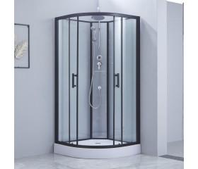 Гидробокс Lidz MAJĄTEK SB100x100.BLA.LOW.TR, низкий, стекло прозр. 5мм + стенки WHI