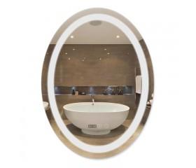 Зеркало Qtap Mideya LED с антизапотеванием, время, темп. DC-F805-1 600х800