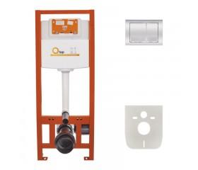 Комплект: Qtap Nest ST Инсталляция для унитаза 4в1( Клавиша квадратная Chrome 150x220x13mm)