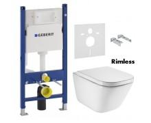 Комплект: GAP Rimless подвесной унитаз с сиденьем slow-closing (в упак.), Geberit Duofix 458.126