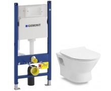 Комплект: FIESTA RIM унитаз подвесной, сиденье твердое SLIM slow-closing + Инсталляция Geberit Duofix, Н112, 12 см(UP100) без клавиши
