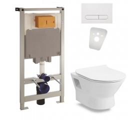 Комплект: FIESTA RIM унитаз подвесной, сиденье SLIM+Комплект инсталляции Volle Master 4в1( белая клавиша)