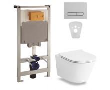 Комплект: NEMO Rimless унитаз подвесной, сиденье Slim+Комплект инсталляции Volle Master 4в1(хром)