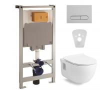 Комплект: ALTEA унитаз 53*35,5*40см подвесной Rimless с сидением+VOLLE MASTER Комплект инсталляции 4в1, хром/ клавиша